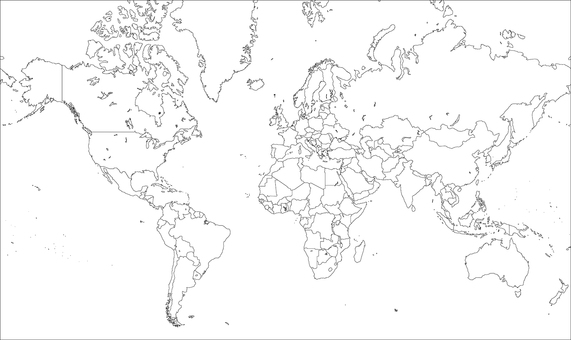 World map-mirror projection europe-border