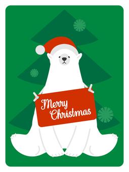 シロクマサンタとクリスマスツリー