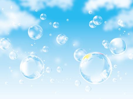 (CMYK) Soap bubble dancing in the blue sky 01
