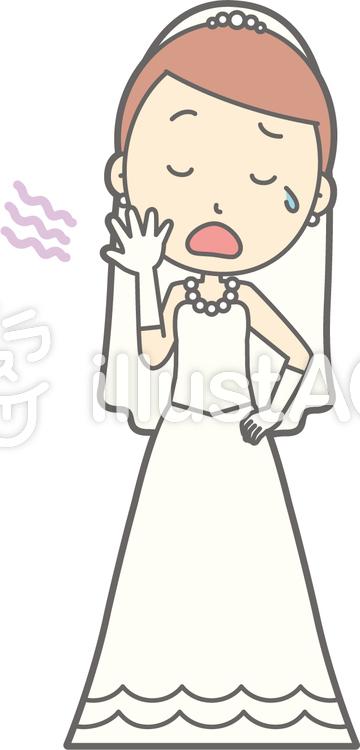 新婦ドレス-あくび-全身のイラスト