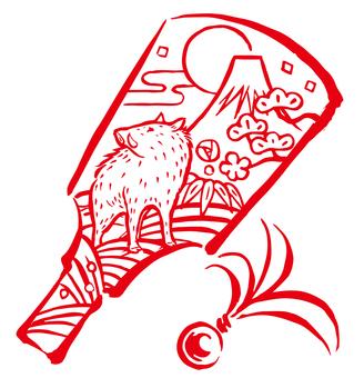 亥-羽子板-赤