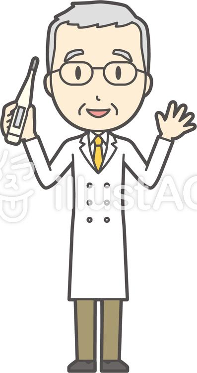 白髪男性医師-298-全身のイラスト