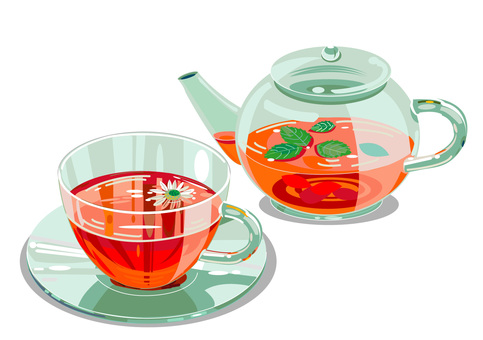 Herb tea and pot
