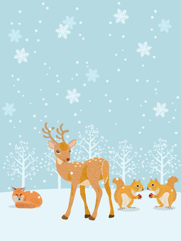 冬の森の動物