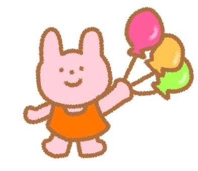 A rabbit holding a balloon