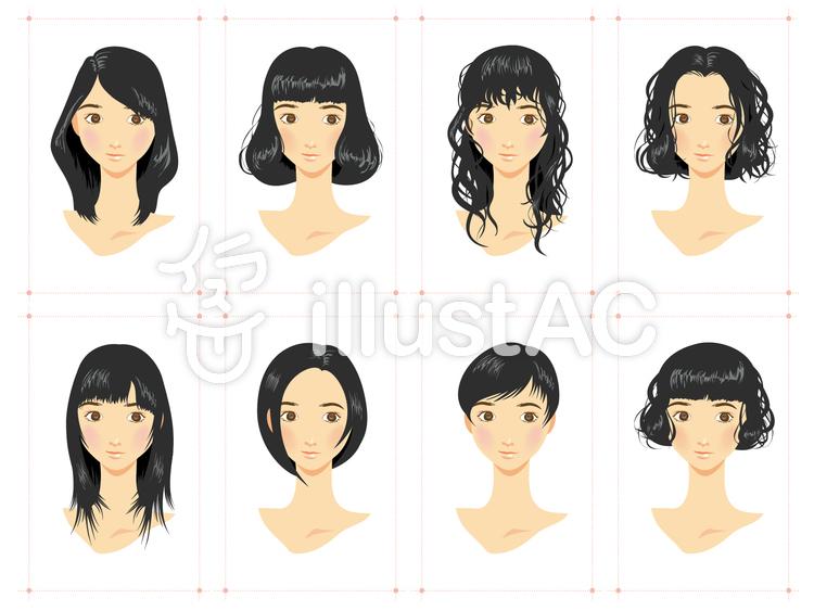 女性ヘアスタイルいろいろ黒髪のイラスト