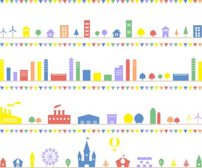 Townscape Factory Amusement park Set Garland