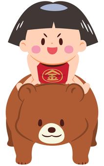 Kintaro who got on a bear