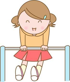 Girl playing with horizontal bar