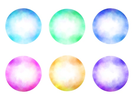 Circular background, colorful watercolor style
