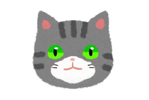 鯖 tabby cat face front face smile