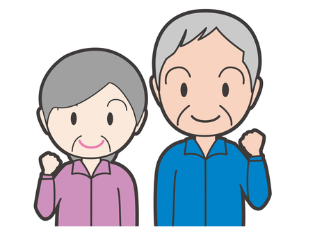 Old lady who guts pose and old gentleman upper body