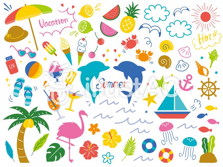 夏のゆるっと飾りセット01のイラスト