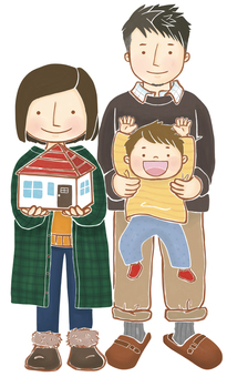 A family with a house model