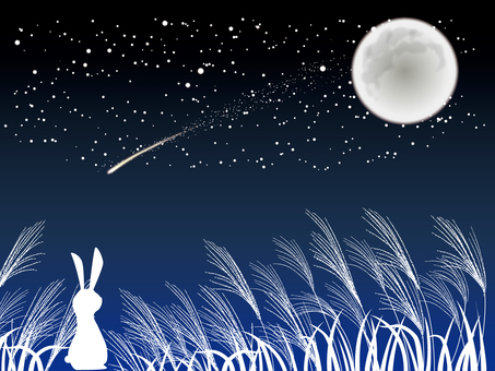 Moon-viewing rabbit, shooting star and Susuki
