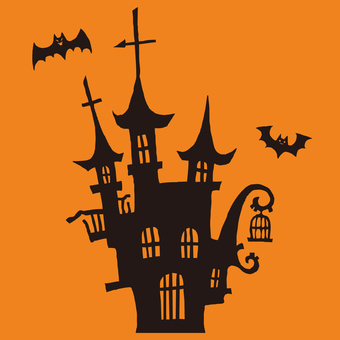 Halloween castle and bat