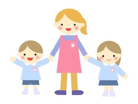 Illustration of a teacher and a kindergartener