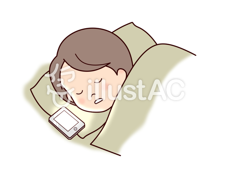 寝る前のスマホ 寝落ちイラスト No 903625無料イラストなら