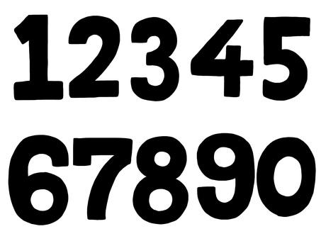 Handwritten numbers monochrome