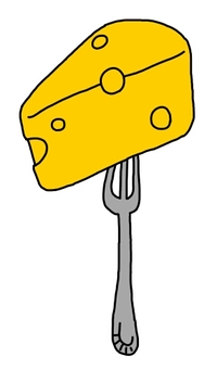 Cheese stuck in a fork