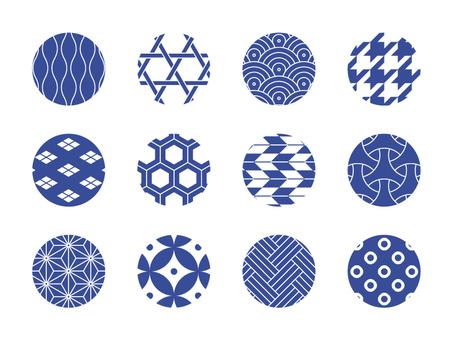 Japanese Pattern Pattern 12 Species Blue Blue