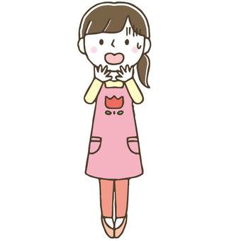 Impatient woman nursery teacher / cute / hand-painted / whole body