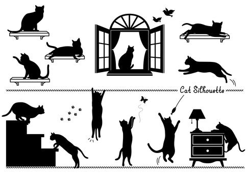 猫 シルエット イラストの無料ダウンロードサイト シルエットac