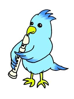 リコーダーを吹く青い鳥