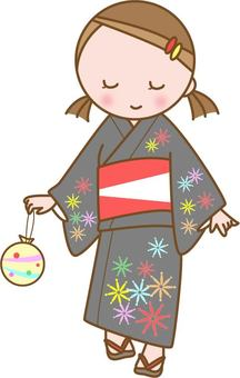 A girl in a yukata that went out to the summer festival