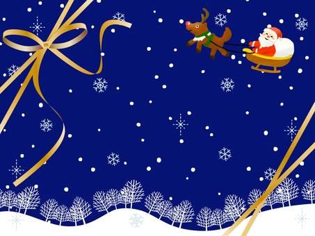 Santa and reindeer in snowy landscape