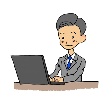Businessman hitting a personal computer