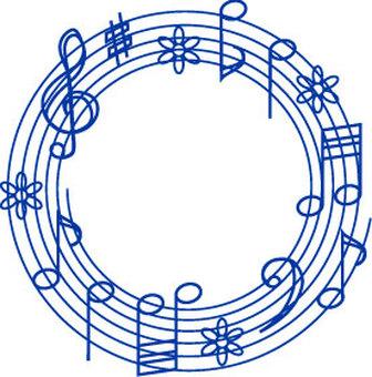 Musical note circle blue