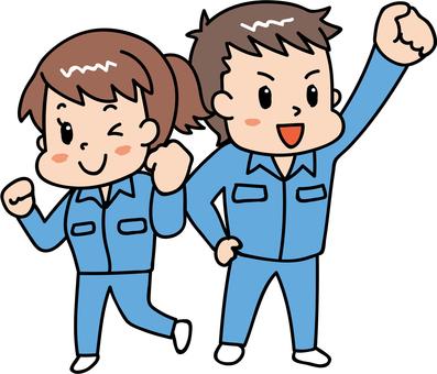 Cheerful male / female worker blue 2