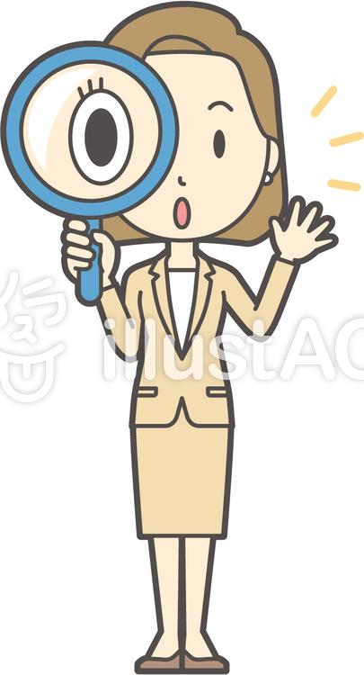 スーツ女性ボブ-219-全身のイラスト