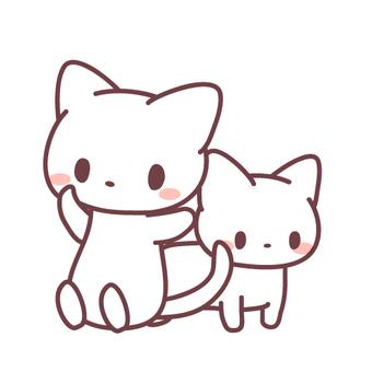 고양이 2 마리의 일러스트