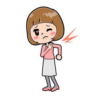 핑크 옷 젊은 여성 어깨 결림
