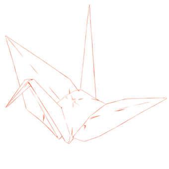 Origami, crane (line drawing)