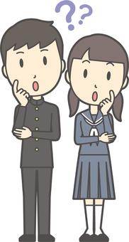 Junior high school student gender set-050-whole body