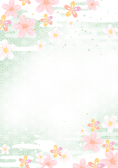 Japanese pattern material 045 Cherry background