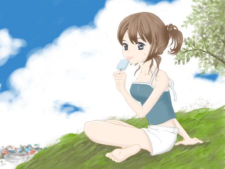 A girl who eats ice cream