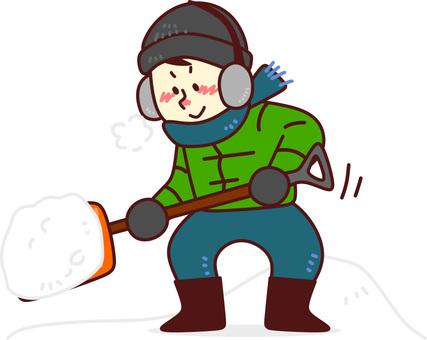 A man shoveling snow