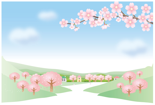 Scenery of cherry blossom road