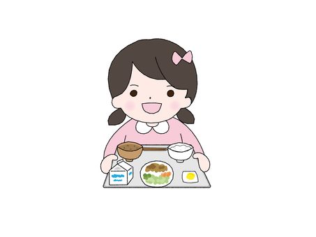 Girl with tray for lunch