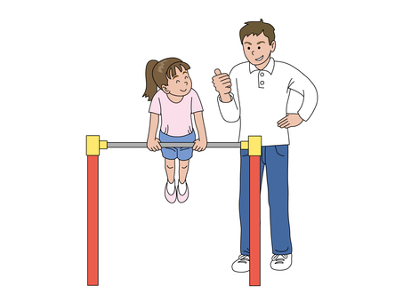 A daughter practicing a steel bar and a dad 2