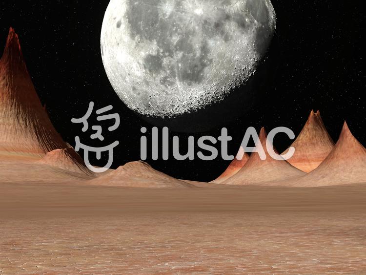 惑星から見た月の景色のイラスト