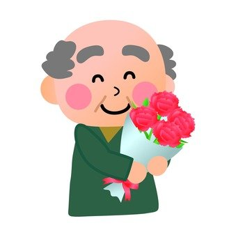Grandfather with flowers