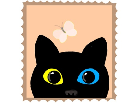 Cat and butterfly (stamp edition)