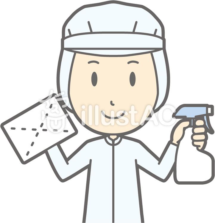 衛生服男-雑巾-バストのイラスト