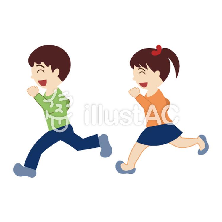 走っている男の子と女の子イラスト No 1003990無料イラストなら