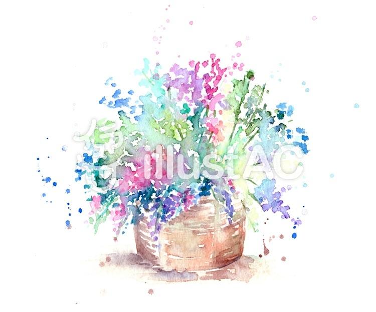 水彩アート 花かごイラスト No 1078677無料イラストならイラストac